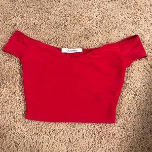 Tops - Red Off the Shoulder Crop Top